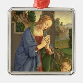 The Virgin Adoring the Child, 1490-1500 Silver-Colored Square Decoration
