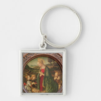 The Virgin Adoring the Christ Child Silver-Colored Square Key Ring