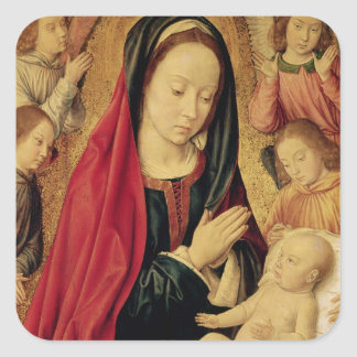 The Virgin and Child Adored by Angels Square Sticker