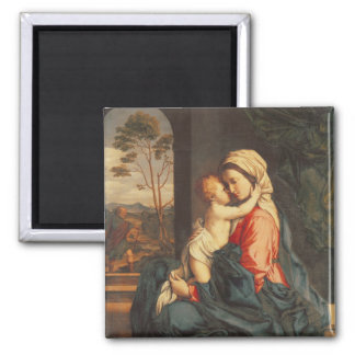 The Virgin and Child Embracing Square Magnet