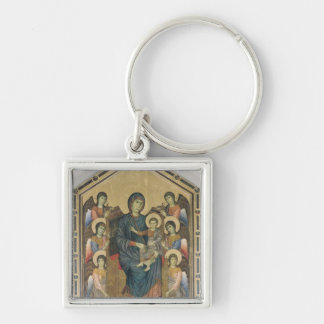 The Virgin and Child in Majesty Silver-Colored Square Key Ring