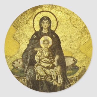 The Virgin and Child Mosaic from the Hagia Sophia Classic Round Sticker