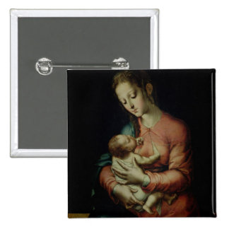 The Virgin and Child (oil on panel) Pinback Buttons