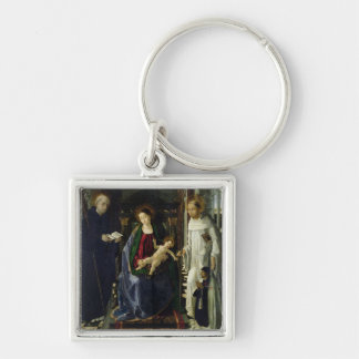 The Virgin and Child (oil) Silver-Colored Square Key Ring