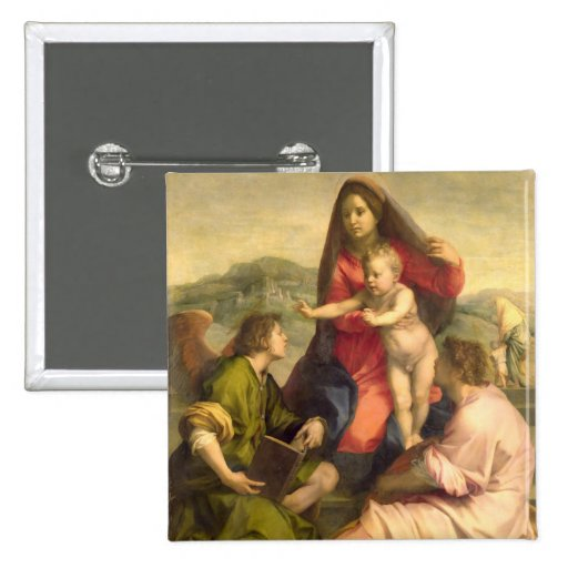 The Virgin and Child with a Saint and an Angel, c. Pins
