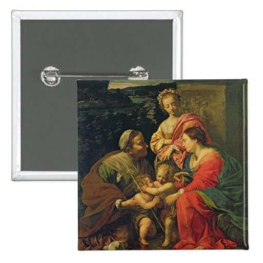 The Virgin and Child with St. Elizabeth, the Infan Pinback Button