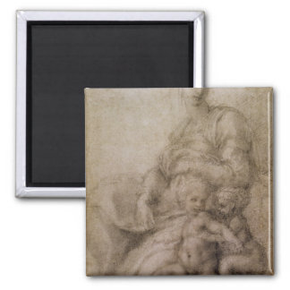 The Virgin and Child with the infant Baptist Fridge Magnet