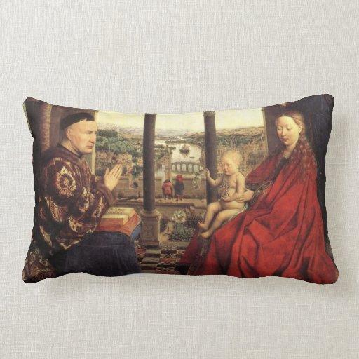 The Virgin of Chancellor Rolin by Jan van Eyck Pillows