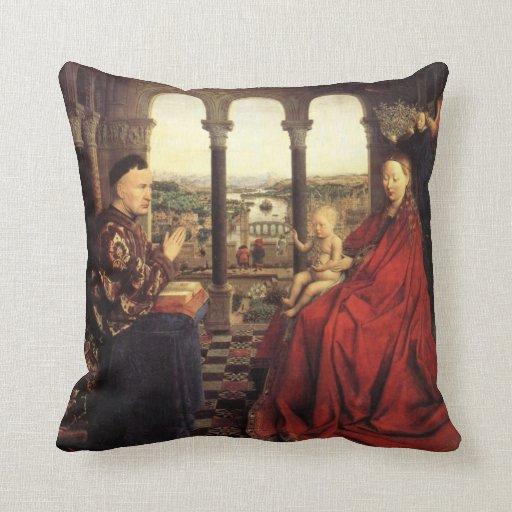 The Virgin of Chancellor Rolin by Jan van Eyck Pillow