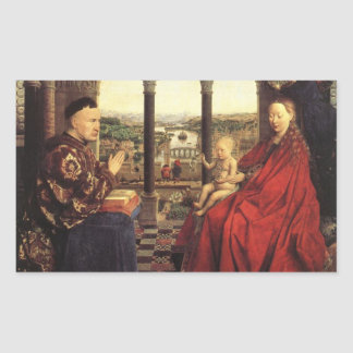 The Virgin of Chancellor Rolin by Jan van Eyck Rectangular Sticker