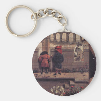 The Virgin of the Chancellor Rolin by Jan van Eyck Basic Round Button Key Ring