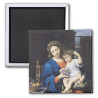 The Virgin of the Grapes, 1640-50 Square Magnet