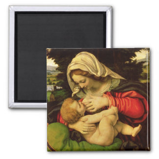 The Virgin of the Green Cushion, 1507-10 Square Magnet
