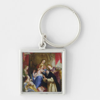 The Virgin Offering the Rosary Silver-Colored Square Key Ring