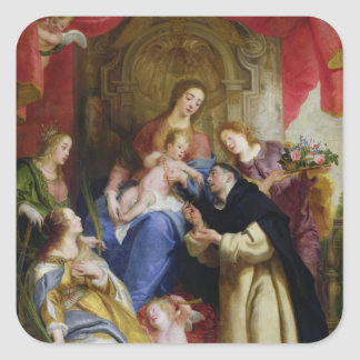 The Virgin Offering the Rosary Square Sticker