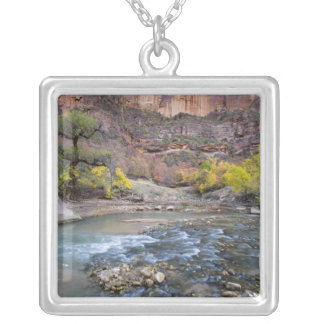 The Virgin River in autumn in Zion National Park Square Pendant Necklace