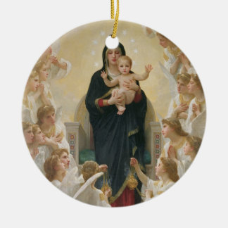 The Virgin with Angels, 1900 Round Ceramic Decoration