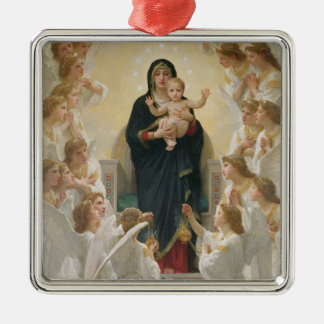 The Virgin with Angels, 1900 Silver-Colored Square Decoration