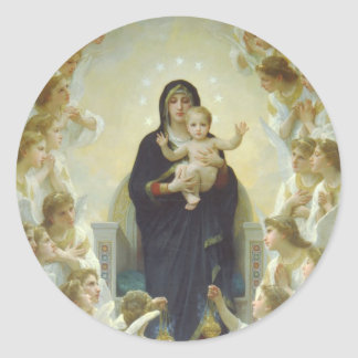 The Virgin With Angels Round Sticker