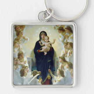 The Virgin With Angels, William Bouguereau Silver-Colored Square Key Ring