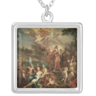 The Vision of Aeneas in the Elysian Fields Square Pendant Necklace