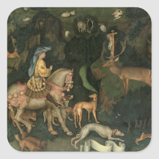 The Vision of St. Eustachius, c.1438-42 Square Sticker