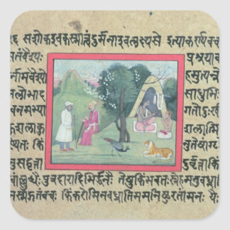 The visit of a Rajput chief to a hermit from a pag Square Sticker