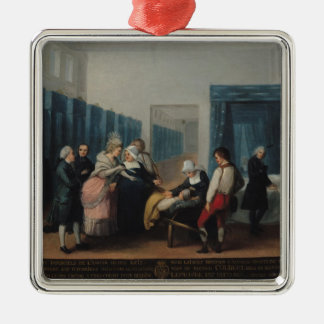 The Visit of Monsieur and Madame Necker Silver-Colored Square Decoration