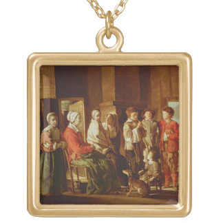 The Visit to the Grandmother (oil on canvas) Square Pendant Necklace