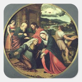 The Visitation (oil on panel) 2 Square Sticker