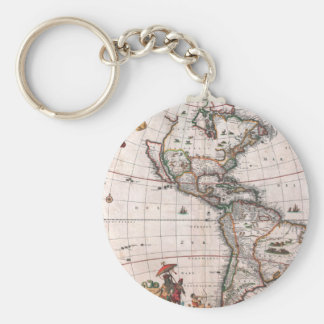 The Visscher map of the New World Key Ring