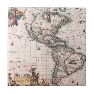 The Visscher map of the New World Tile