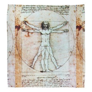THE VITRUVIAN MAN Antique Parchment Bandana