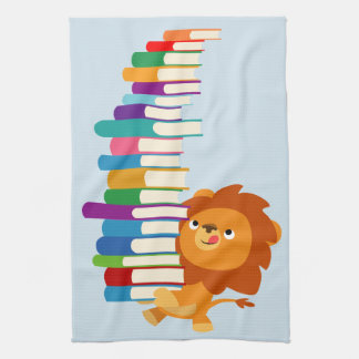 The Voracious Reader (Cute Cartoon Lion) Tea Towel