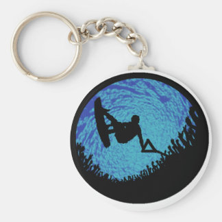 THE WAKEBOARDING ONE BASIC ROUND BUTTON KEY RING