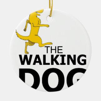 The walking dog ceramic ornament