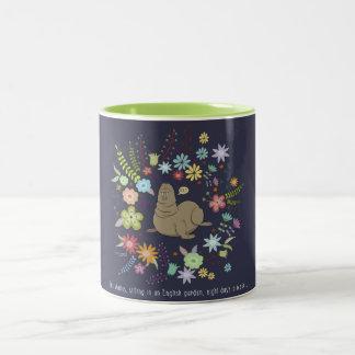 The walrus, sitting in an English whisks Two-Tone Coffee Mug