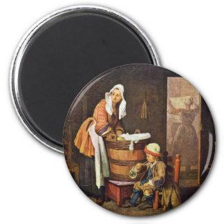 The Washerwoman,  By Chardin Jean-Baptiste Siméon Magnet