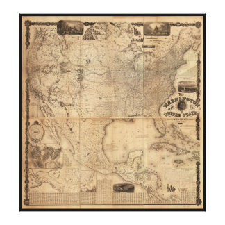 The Washington Map of the United States (1861) Stretched Canvas Prints