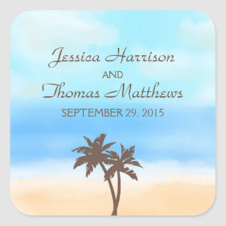 The Watercolor Beach Wedding Collection Square Sticker