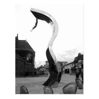 The Wave Sculpture B/W Postcard