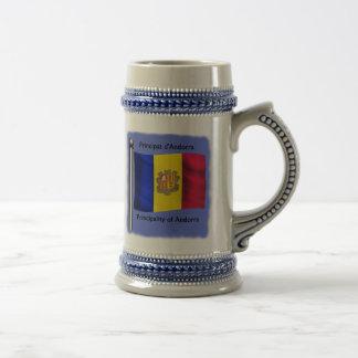 The Waving Flag of Andorra Beer Stein