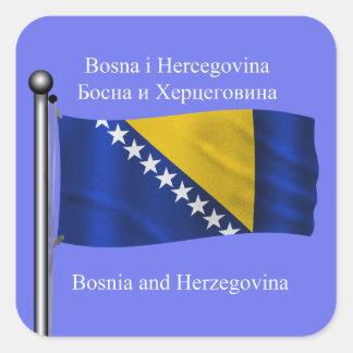 The waving flag of Bosnia and Herzegovina Square Sticker