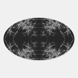 The Way In. Fractal Art. Monochrome Oval Sticker