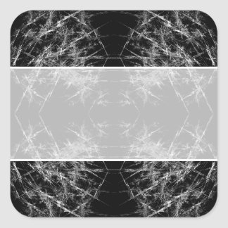 The Way In. Fractal Art. Monochrome Square Sticker