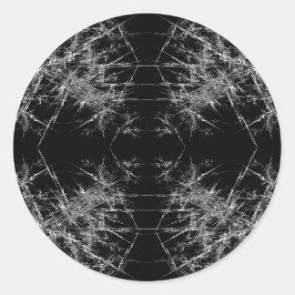 The Way In. Fractal Art. Monochrome Round Sticker