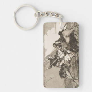 The way the ancient Spaniards baited the bull Double-Sided Rectangular Acrylic Key Ring