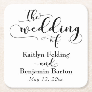 The Wedding of Commemorative Typography Square Paper Coaster