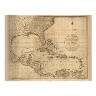 The West Indies Map by John Cary (1783) Postcard