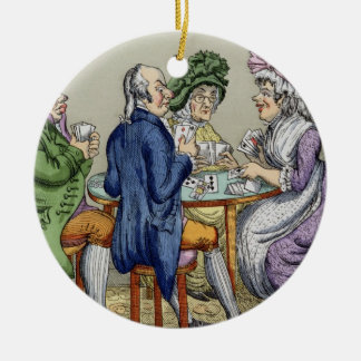 The Whist Party (colour litho) Round Ceramic Decoration
